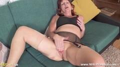 Kinky Randy mature redhead wanks in bra nylons garters heels Thumb