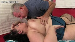 Steamy Megan Rain babe sucks off married man in front of his relaxing wife Thumb