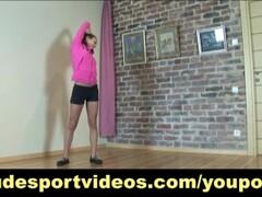 Nude sport gymnast doing exercises Thumb