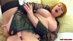 Steamy Redhead mature Red XXX gets off with her toy Thumb