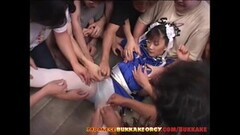 Chun-Li Cosplay Japanese Babe groped in huge bukkake gangbang Thumb
