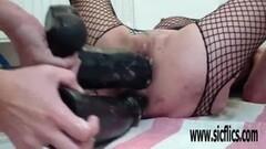 Brunette sand castle artist chokes on cock Thumb