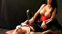 Hot redhead fucked by her busty girlfriends strap on Thumb