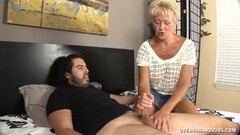 Amateur tugging on hard cock Thumb