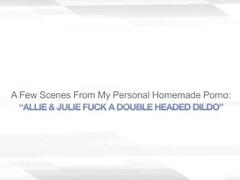 ALLIE & JULIE FUCK A DOUBLE HEADED DILDO – LESBO Thumb