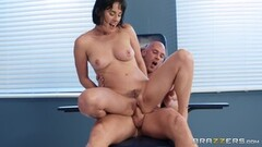 Johny creams on the feet of cute short haired brunette Olive Glass Thumb