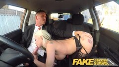Fake Driving School Busty blonde in hot back seat sex Thumb