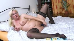 Kinky school teacher strips off and masturbate in nylons Thumb