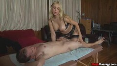 Client Arrives To See The Sexy Blonde Masseuse Thumb