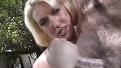 Blonde amateur jerks this hard cock Thumb