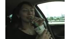 A japanese babe fingering her pussy in a car Thumb
