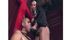 Nasty nun hard fucking a slave with a strapon after fingering his ass Thumb