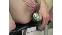 Brunette testing out kitchen equipment in her pussy Thumb