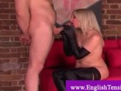 Cock tease with  leather handgloves Thumb