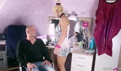 GERMAN MILF Hairdresse Fuck Client at Home working Session Thumb