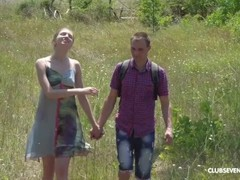 Skinny Vika Lita Has a Huge Appetite for Cock in Nature Thumb