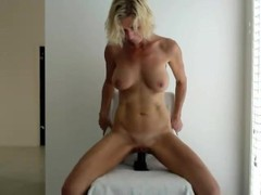 Big titten Milf rides here black dildo Thumb