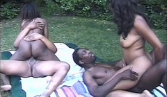 Horny ebony beauties enjoy a pool-side orgy Thumb