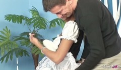Hot Maid in Stockings Seduce to Fuck by Huge Cock Boss Thumb