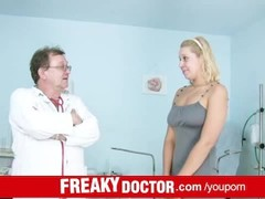 Bushy pussy euro babe Tina abused by dirty pussy doctor Thumb