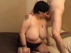 Bbw has her huge breasts fondled and gives oral Thumb