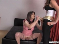 Horny crossdressser slut wanks and fucks then cums on her tight latex dress Thumb