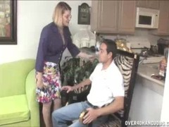 Horny Milf's Got Her Eyes On Young Guy's Large Bulge Thumb
