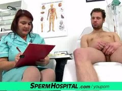 Fat big tits lady Eva cfnm jerking off at hospital Thumb
