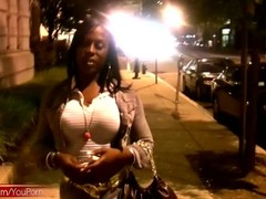 Seductive ebony t-babe we picked up in the streets jerks off Thumb