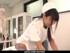 Perfect Asian threesome with curvy ass nurse Yu Shinohara Thumb