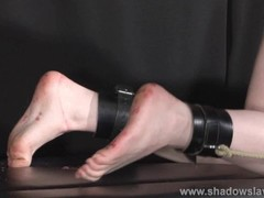 Satine Sparks lesbian foot fetish and hot waxing bdsm of blonde submissive babe by lezdomme mistress Thumb