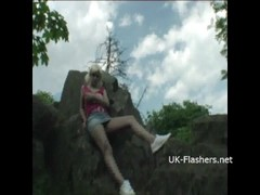 Teen blonde flashers outdoor striptease of young amateur exhibitionist Emma Thumb