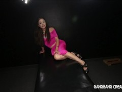 Hot horny girl loves gangbang and cum inside her pussy Thumb