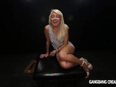Hot horny blonde loves gangbang and cum inside her pussy Thumb