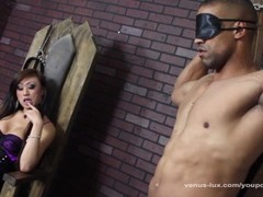 Venus Face Fucks Her Slave And Cums On His Chest Thumb