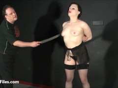 Tit whipping of slave Isabel Dean in hardcore impact play Thumb