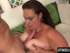 Brunette BBW Angelina takes a stiff cock in her pussy Thumb