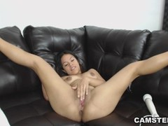 Latina plugs anal toy while vibrating and toying her shaved pussy Thumb