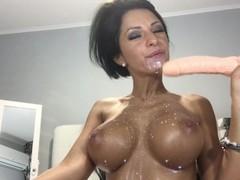 HOT HOT Anisyia Livejasmin blowjob, cumshot on huge tits Thumb