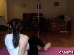 Big natural tits brunette does yoga live on webcam Thumb