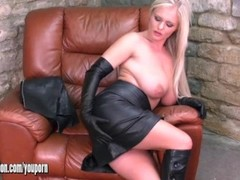 Sexy blondes with big tits tease in leather and horny Honey plays with her sweet pussy Thumb
