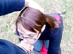 Blowjob in the forest: planted on the cock and cumshot in mouth Thumb