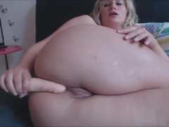 Busty blonde trains her butthole Thumb