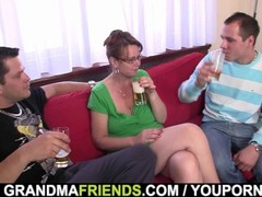 Party threesome with old woman Thumb