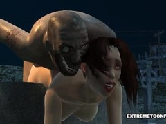 Sexy 3D Babe Fucked in a Graveyard by a Zombie Thumb