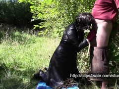 Angela in forest and leather coat Thumb