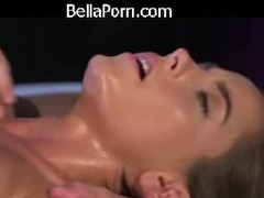 Massage Rooms Brunette with big natural tits has intense orgasm Thumb