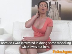 FakeAgent Big tits Australian sucks and fucks on casting couch for job Thumb