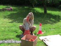 Horny blonde Milf anal fucks huge traffic cone as she toys pussy with vibrator Thumb