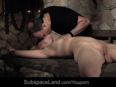 Teenie blonde slave screaming discipline rough fuck in the dark tower Thumb